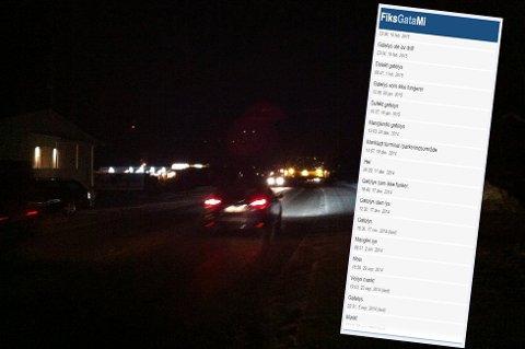 MØRKT: I utdraget fra Fiks gata mi er noen av klagene på gatelys på Storslett. Kommunen sier at de ikke har råd til å fikse alle lysene. Foto: skjermdump/illustrasjonsbildet.