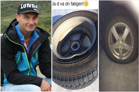 MASSEPUNKTERING: Paul-Ivar Fagerheim var en av mange som fikk ødelagt dek og felger på E6 i Troms lørdag kveld.