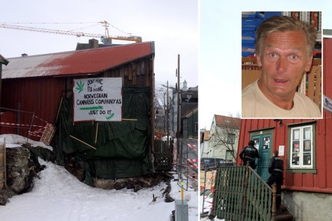 NYSGJERRIG: I formiddag besøkte politiet denne forretningen i Tromsø, for å få innehaveren til å fjerne skiltet som henger på husveggen (bildet til venstre). Foto: Stian Saur