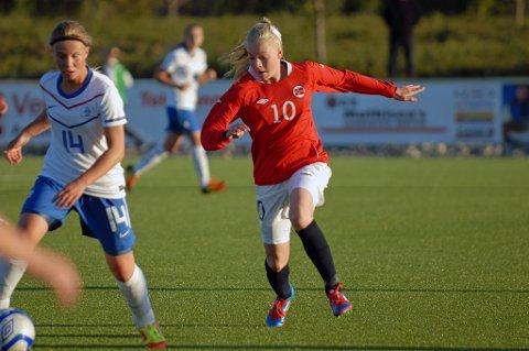 Marie Dølvik fikk sin debut på A-landslaget mot USA onsdag.