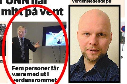 """- Den eneste unnskyldningen jeg har er at jeg begynte så tidlig på jobb, sier Nordlys-journalist Espen Bless Stenberg (innfelt). Han gikk på Avisa Nordlands aprilspøk og la """"nyheten"""" ut på Nordlys' nettside."""