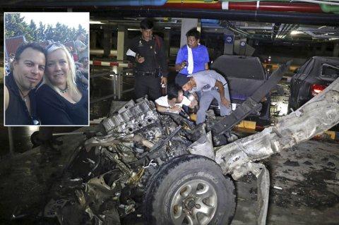 SATT LIKE VED: Sten Ørjan Uteng og Marit Solhaug satt på en restaurant like ved der bilbomben  eksploderte fredag kveld norsk tid.