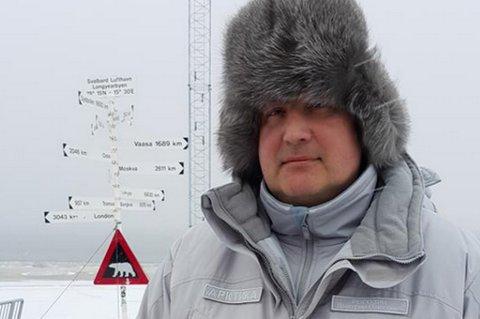 """ANKOMMET SVALBARD: Dmitry Rogozin, Russlands visestatsminister, la ut dette bildet på Twitter med teksten """"Ankommet på Svalbard"""""""