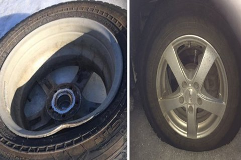 DEKKSKADER: Disse bildene er fra mars i år da flere bilsiter fikk ødelagt dekk og felger langs E6 i Målselv. Fredag er sender NordlysTV direkte fra den slitne hovedferdselsåren.