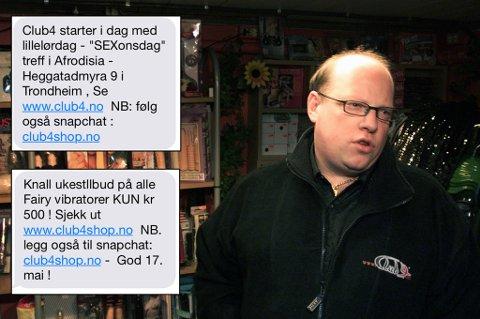 MELDINGER: Disse meldingene tikket inn på mobiltelefonen til den 11 år gamle jenta fra Tromsø. Tom Ketil Krogstad, daglig leder i Club 4, vet ikke hvorfor jentas nummer ikke er slettet fra deres registre - til tross for flere henvendelser fra 11-årigens foreldre. Foto: Gorm Kallestad, NTB scanpix/Privat