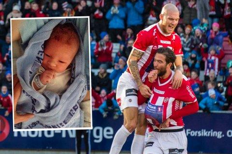 Slik feiret Jonas Johansen målet mot Fredrikstad i fjor høst som sikret TIL opprykk til eliteserien, med mage og tommeltotten i munnen. Sent mandag kveld ble han og Camilla Bredal-Olsen foreldre til en liten sønn (som dere kan se innfelt).