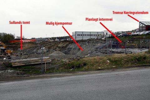 I DAG: Slik ser det ut i området i dag. - Kjempetrangt, sier eieren av Tromsø Næringseiendom om planen om å skvise en internvei mellom hans eiendom og Sullands tomt.