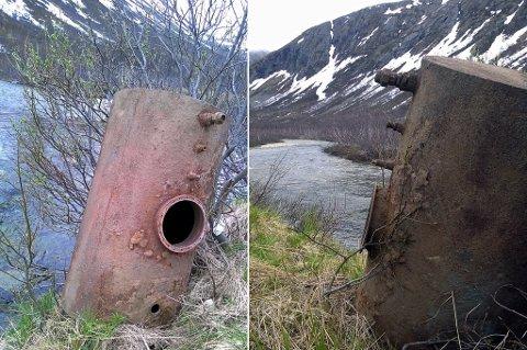 PÅ ELVEBREDDEN: I det popuære turområdet på Kattfjordeidet ligger det nå et stor fyringstank slengt på elvebredden.