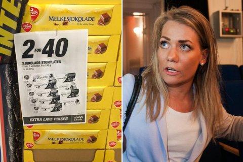 FIKK NOK: Sandra Borch har  fått nok av reklamer som denne. - Avgiften på sjokolade, annet godteri og usunn mat må økes, sier Senterparti-politikeren.