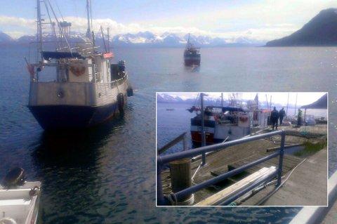 TAUET BORT: Kommunen tauet onsdag bort fiskebåten Lukas som har ligget ved allmenningkaia på Karlsøy siden februar i fjor. Den sistye fristen for fjerning ble ikke overholdt av eieren. Politiet var også på stedet.