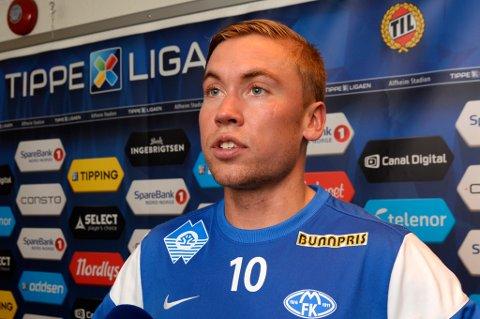 Thomas Kind Bendiksen på Alfheim 5. juni, som Molde-spiller. I kampen TIL vant 2-0 kom han aldri på banen, noe som har vært tilfelle i brorparten av eliteseriekampene til Molde denne sesongen.