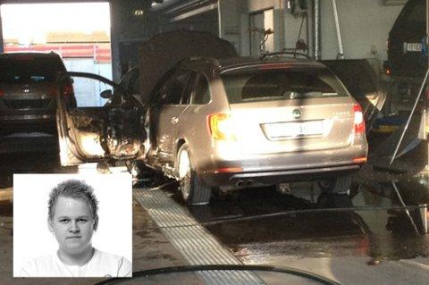VANTRO: Daniel Molund hadde akkurat kommet hjem da han fikk beskjed om hva som hadde skjedd med bilen. Foto: Therese Jakobsen/Privat