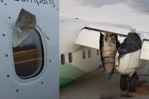 INN I VINDUET: En bit av propellen borret seg inn i vinduet på flyet. Det kom ikke noe vrakrester inn i kabinen. Foto: Avinor
