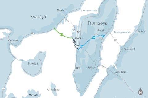 Slik ser Stetens vegvesen for seg at en ny bru skal bindes sammen med det øvrige veinettet i Tromsø og også koples til ny Tverrforbindelse.