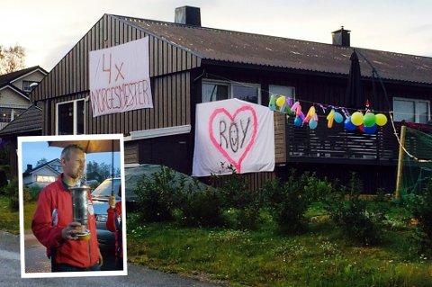 Slik så huset til Roy Håkstad ut da han natt til søndag kom hjem til Tromsø med pokalen (innfelt) etter finaleseieren på Landsskytterstevnet.