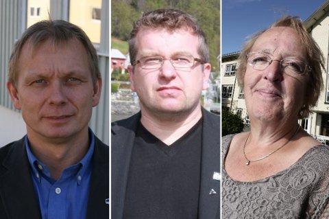 ALLE VIL HA MAKT: Høyre Fred Skogeng, Tverrpolitisk Listes Dan Håvard Johnsen og sittende ordfører, Aps Sølvi Jensen.