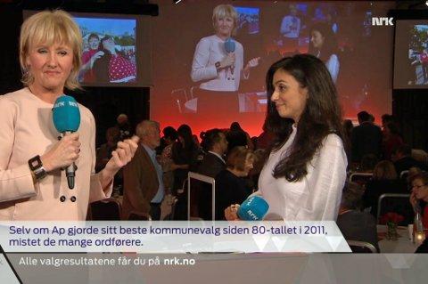 TIDLIG UTE: Her blir resultatene presentert på NRK, 11 minutter før de hadde lov.  Foto: Skjerdump NRK