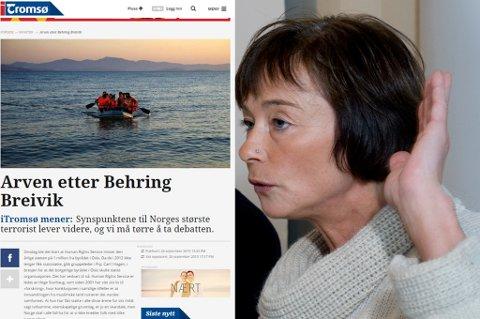 TRUER MED SØKSMÅL: Informasjonsleder Hege Storhaug og HRS truer iTromsø med søksmål etter denne lederartikkelen som sto på trykk lørdag.