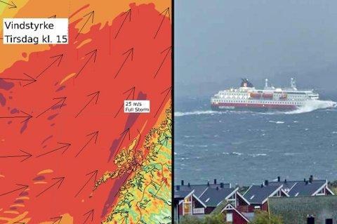 PÅ VEI: Stormen har allerede truffet Lofoten. Her er Hurtigruta i Svolvær. Nå er uværet på vei nordover. Foto: Roy Charlsen/YR
