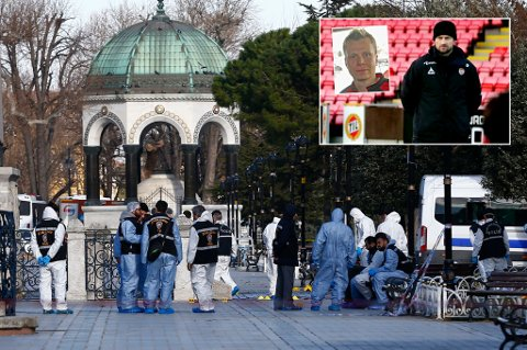 Police forensic officers attend the scene after an explosion in front of the German Fountain in Sultanahmet Square in Istanbul, Turkey January 12, 2016. Ten people were killed and fifteen others were wounded after a large explosion rocked a central Istanbul square on Tuesday, a statement from the Istanbul governor's office said.    REUTERS/Murad Sezer TPX IMAGES OF THE DAY