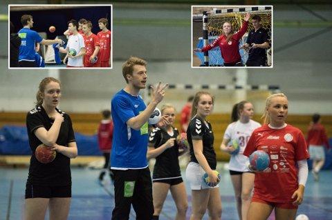 Kristian Bjørnsen trente håndballspillere i Tromsø i mars i fjor, sammen med Christian O'Sullivan (innfelt t.v) og Ole Erevik (innfelt t.h). I kveld var de avgjørende spillere i den norske sensasjonsseieren mot Kroatia.