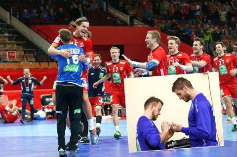 Harald Markussen (innfelt t.v) jobber med å få Bjarte Myrhol (innfelt t.h) klar til EM-spill igjen. Den tidligere BKT-spilleren mener seieren mot Kroatia søndag, er den beste opplevelsen han har hatt med det norske herrelandslaget i løpet av åtte år i mesterskap.