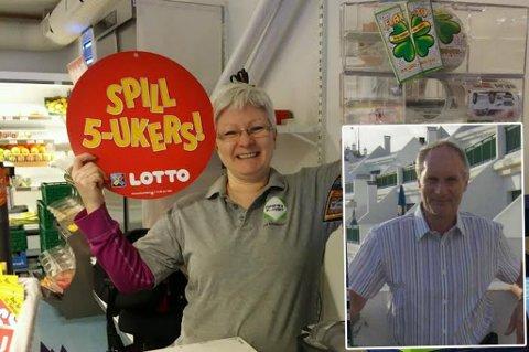 Ann Kristin Henriksen og Aksel Henriksen (innfelt) jubler over milliongevinsten pappa Aksel vant lørdag. Nå håper de at lokalbutikken skal bringe lykke til bygda.