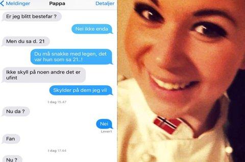 """""""Nu da?"""": Tina Tverrå Solheim fra Tromsø hadde termin 21. januar. En som er svært lei av å vente er pappaen hennes, som gjerne vil bli bestefar. Foto: Privat"""