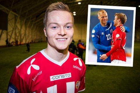 Aron Sigurdarson gjorde sine saker bra under oppholdet med TIL. Nå er han for første gang tatt ut på det islandske A-landslaget, der han får selskap av blant andre Eidur Gudjohnsen (innfelt i hyggelig passiar med Tom Høgli).