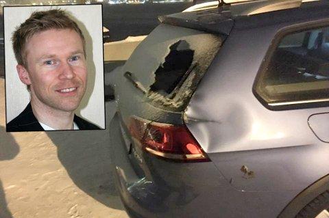 ERGELIG: Knut Arne Kaspersen hadde fått den splitter nye bilen 25 timer før den så slik ut. - Jeg er ikke den første som opplever dette og jeg blir ikke den siste. Men det er jo følelsen av urett og urettferdighet som gnager, sier han.