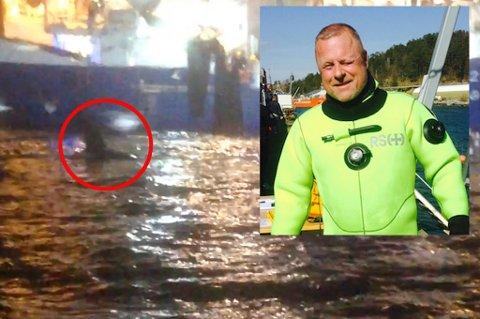 IKKE ALENE: Remi Andre Malmberg oppdaget at han ikke var alene i fjorden.