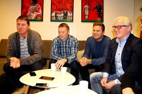 TILs nye trenerteam ble offisielt presentert tirsdag. F.v. keepertrener Inge Takøy, fysisk trener Truls Hallen, assistenttrener Lars Petter Andressen og hovedtrener Bård Flovik.