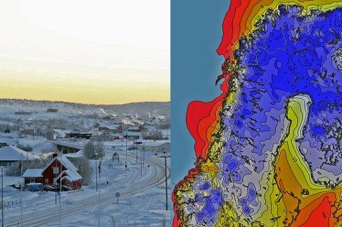 BIKKJEKALDT: Det skal bli bikkjekaldt de kommende dagene. Kartet til høyre viser hvordan kaldfronten vil ligge onsdag klokken 12.00