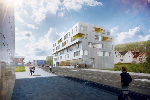 AVVISER BLOKK: Kommunens administrasjon råder politikerne til å se nei til denne fem etasjer høye boligblokka i Stakkevollveien 122-128.