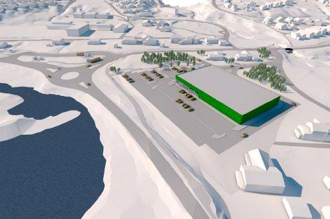 BUTIKK OG PARKERING: Norgesgruppen Nord ønsker ny butikk nord for bruhodet på Kvaløysletta. I tillegg foreslår de å etablere innfartsparkering for trafikanter som kan sette fra seg bil eller sykkel, for så å ta bussen videre over Sandnessundbrua.