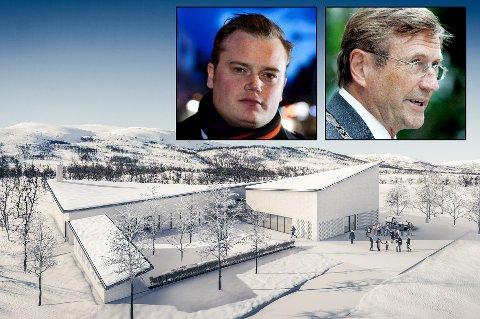 UENIGE: Jonas Stein (V) (innfelt fra venstre) og varaordfører Jarle Aarbakke (Ap) er ikke enige om kommunen eller kirken bør drifte nytt krematorium og seremonirom i Tromsø. Neste uke skal saken opp i kommunestyret.