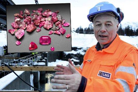KLARE FOR GRØNLAND: Nå har Leonhard Nilsen & Sønners datterselskap sikret seg lisensen til gruvedrift på Grønland. Rubinene på bildet er faktiske rubiner fra gruven der de håper å være i gang fra november av. Her er administrerende direktør Frode Nilsen.