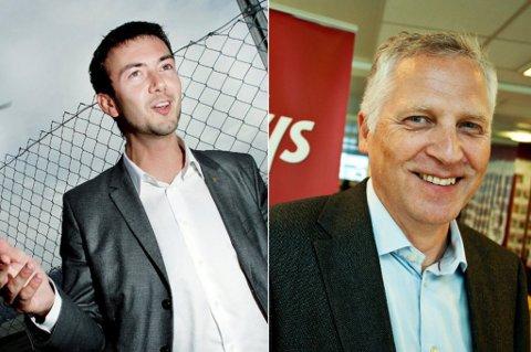 HÅPEFULLE: Kent Gudmundsen (H) (til venstre) og Øyvind Korsberg (Frp), begge stortingsrepresentanter for Troms, håper at E8-prosjektet i Breivika i Tromsø kommer inn i statsbudsjettet igjen. Det er i alle fall det de jobber for.