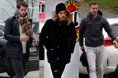 Her er (f.v.) Henrik Gjesdal, Lasse Nilsen og Morten Gamst Pedersen på vei inn for å rense lufta på Alfheim tirsdag, sammen med ledelsen og trenerapparatet i klubben.