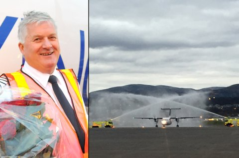 BYGGER HANGAR: FlyViking og Ola Giæver vil bygge hangar på Langnes. Bildet viser velkomsten selskapet fikk ved første landing på flyplassen i Tromsø i oktober i fjor.
