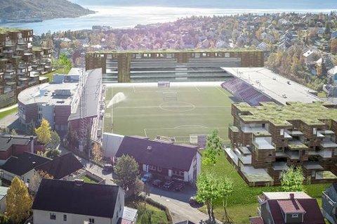 Her er en av skissene som er lagt frem i forbindelse med den planlagte utbyggingen rundt Alfheim stadion. Ingen av skissene inkluderer en tribune i sørenden av banen.