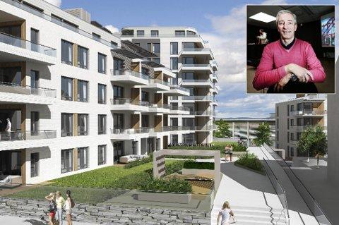 2-3 ÅR: Kvartal 15 skal ha grøntareal og åpen plass mellom de tre bygningene, som Inge Falck Olsen (innfelt), Barlindhaug og Coop Norge satser på i Gjøvik. Den høyeste bygningen bli på 10 etasjer. Illustrasjon: Make Arkitektur