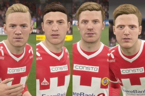 Hvem er dette? Jo, i spillet FIFA17 er dette (fra venstre) Gjermund Åsen, Runar Espejord, Morten Gamst Pedersen og Mikael Norø Ingebrigtsen.