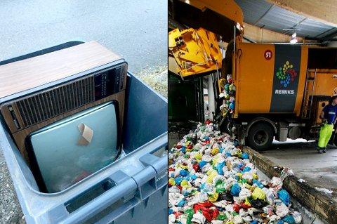 NEI OG NEI: Da driftsleder Arnt Ystmark i Remiks løftet på søppelspannet, åpenbarte denne TV-en seg. - Slike gjenstander kan gjøre stor skade på anlegget vårt, sier Ystmark.