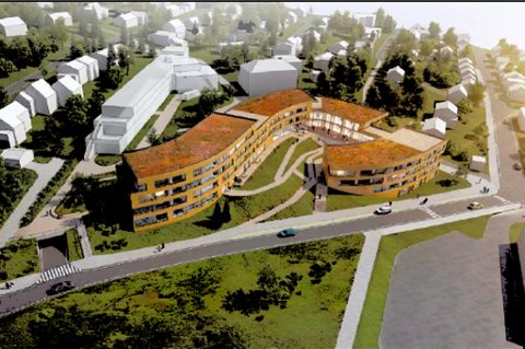 SENIORBOLIGER: De nye eldreboligene i Inga Sparboes vei er planlagt i en sammenhengende bygning. Gamle Hvilhaug sykehjem ses til venstre bak bygningen. Felles parkering er foreslått under bakkeplan med innkjøring fra Bjørnøygata nederst til venstre i bildet.