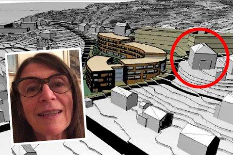 FØLER SEG LURT: Marit Ringvold mener denne skissen lyver. Steinerskolen (innringet) har tilsynelatende nærmes fri utsikt over de planlagte eldreboligene. - Sannnheten er at vi blir murt inne. Bygget blir høyere enn skissene viser, sier Ringvold.