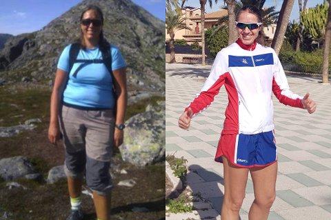 Guro Skjeggerud veide i 2011 95 kilo. Trebarnsmoren bestemte seg da for å ta tak i seg selv. Til høyre er hun avbildet i helga i forbindelse med VM i 100-kilometerløp i Spania. Det løpet fullførte hun på åtte timer og 20 minutter.