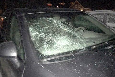 SAMMENSTØT: Thomas Bugge hadde lånt bilen av en kamerat. Slik så den ut etter møtet med elgen.