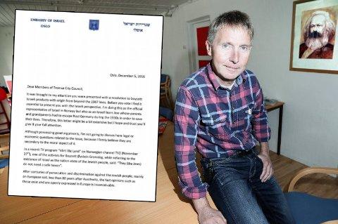 REAGERER: - Jeg har knapt lest et mer ekstremt forsvar av Israel, eller angrep på FN og norske regjeringer, sier Jens Ingvald Olsen (Rødt) om brevet som er sendt til kommunestyrerepresentantene i Tromsø fra den israelske ambassadøren.