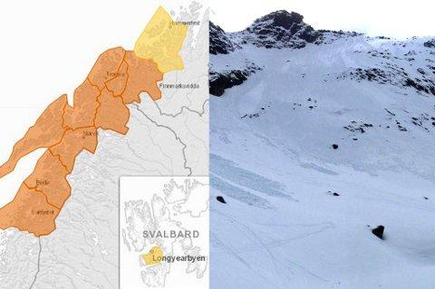 ADVARER: NVE melder om betydelig snøskredfare i deler av Troms og Nordland. De advarer mot å oppsøke bratte områder. Foto: Skjermdump NVE/Torkil Emberland